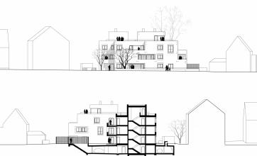 Neubau einer Mehrfamilienvilla mit Tiefgarage in Augsburg